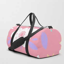 Pink Pattern with Flowers and butterflies Duffle Bag