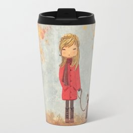 Little girl with dog in autumn landscape Travel Mug