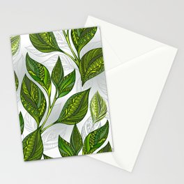 Seamless Pattern with Green Tea Leaves Stationery Cards