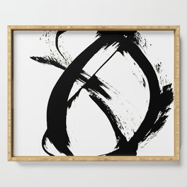 Brushstroke 7: a minimal, abstract, black and white piece Serving Tray