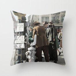 San Francisco Newspapers c.1941 - Colourised Throw Pillow