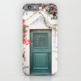 Green Door Surrounded by Flowers in Cascais, Portugal | Travel Photography | iPhone Case