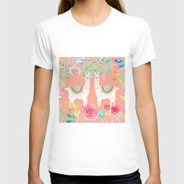 Llama in a floral frame T-shirt