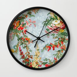 Elegant Summer Flowers Wall Clock