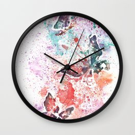 Butterflies Watercolor Painting Wall Clock