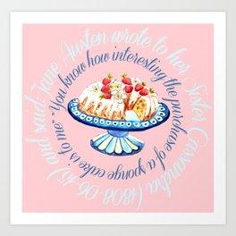 Jane Austen quote about sponge cake // watercolor cake Art Print