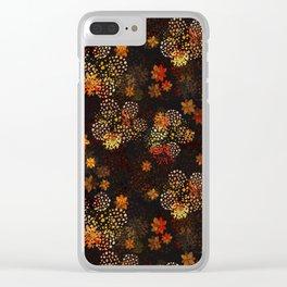 Orange & brown floral pattern Clear iPhone Case