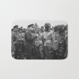 Eisenhower Talking With Airborne On D-Day Bath Mat