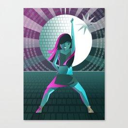 girl dancing twerking in disco near a mirrorball Canvas Print