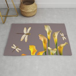 GOLD CALLA LILIES & DRAGONFLIES ON GREY Rug