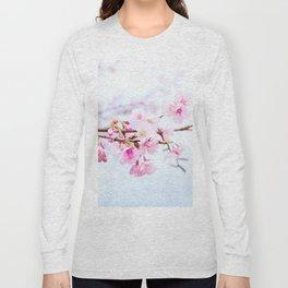 Japanese cherry-blossom tree, 'Oh-kanzakura' Long Sleeve T-shirt