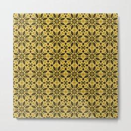 Primrose Yellow Floral Pattern Metal Print