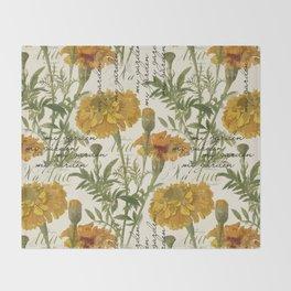 Vintage marigolds Throw Blanket