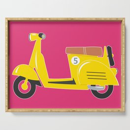 Retro yellow scooter - purple background Serving Tray