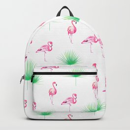 Flamingos, Green, Palm, Leaves, Pink, Tropical, Minimal, Pattern, Modern art Backpack