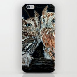 young love on a starry night - screech owls iPhone Skin
