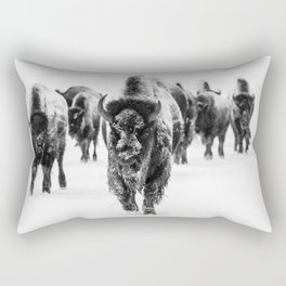 Bisons, black and white Rectangular Pillow