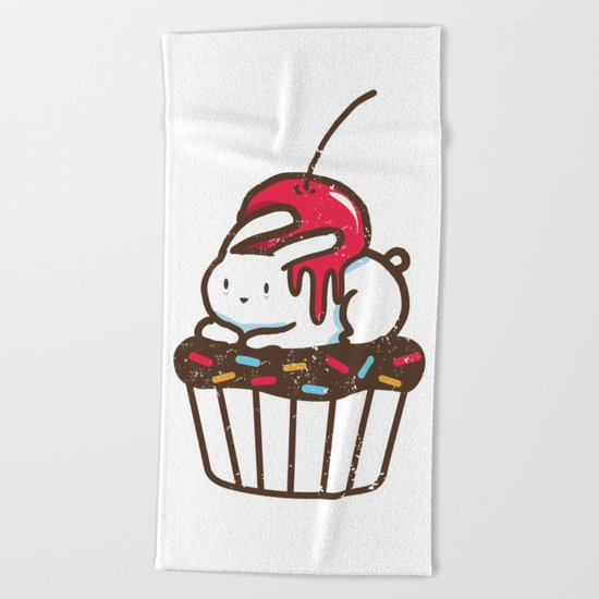 Chubby Bunny on a cupcake Beach Towel