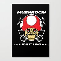 mario kart Canvas Prints featuring Mushroom racing mario kart by Buby87