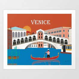 Venice, Italy - Skyline Illustration by Loose Petals Art Print