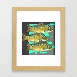 SCHOOL OF GREENISH-YELLOW FISH  IN GREY ART Framed Art Print