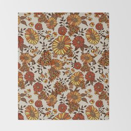 Retro 70s boho hippie orange flower power Throw Blanket