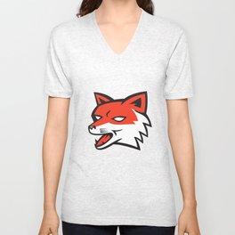 Red Fox Head Growling Retro Unisex V-Neck