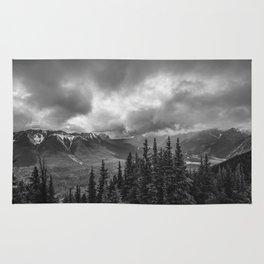 Banff Gondola Black and White Landscape | Photography Rug