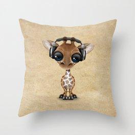 Cute Baby Giraffe Dj Wearing Headphones Throw Pillow