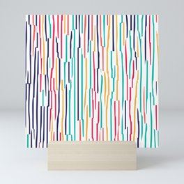 Colorful scribble lines abstract pattern Mini Art Print