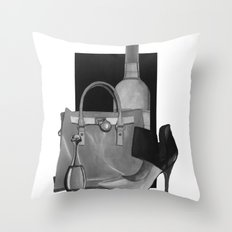 Fashion Illustration - Ink Wash Throw Pillow