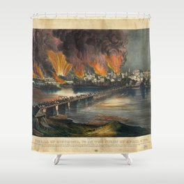 The fall of Richmond, Virginia on the night of April 2nd 1865 Shower Curtain
