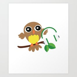 Owls Music Lovers Musicians Nocturnal Birds Night Hunter Animals Wildlife Wilderness Gift Art Print