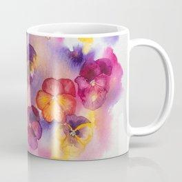 Spring watercolor flowers art colorful pansies Coffee Mug