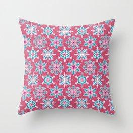 Snowflakes - Rainbow Snowflakes Dark Pink Throw Pillow