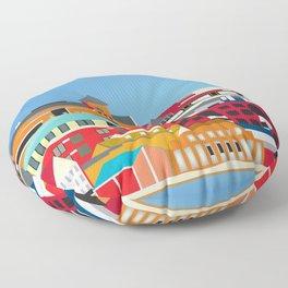Burlington, Vermont - Skyline Illustration by Loose Petals Floor Pillow
