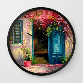 Flower-filled patio Wall Clock
