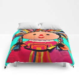 Mexican Maria Doll (turquoise) Comforters