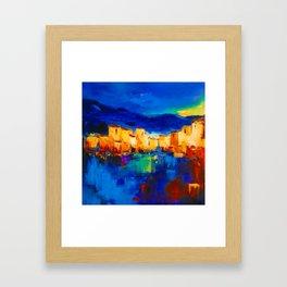 Sunset Over the Village Framed Art Print