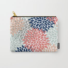 Floral Bloom Print, Living Coral, Pale Aqua Blue, Gray, Navy Carry-All Pouch