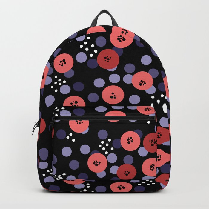 Polka dot 5 .Salmon on a black background . Backpack