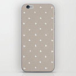 Pattern - crosses on beige/brown background iPhone Skin