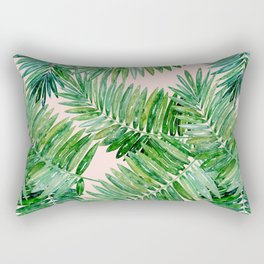 Green palm leaves on a light pink background. Rectangular Pillow
