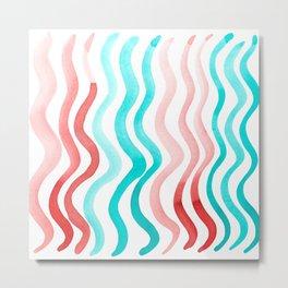 Wavy lines - orange and mint Metal Print