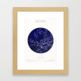 French February Star Map in Deep Navy & Black, Astronomy, Constellation, Celestial Framed Art Print