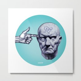 KILL THE LØVE BEFORE IT KILLS YOU / Marble statue head Metal Print