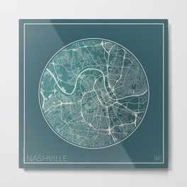 Nashville Map Planet Metal Print