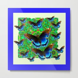 BLUE-BROWN BUTTERFLY GREEN ART Metal Print