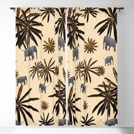 Palm Tree Elephant Jungle Pattern #3 (Kids Collection) #decor #art #society6 Blackout Curtain
