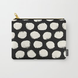 Trendy Cream Polka Dots on Black Carry-All Pouch